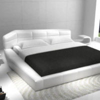 Modern Furniture Stores Leather Bed in White