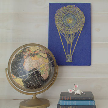 Unique Wall Art, Vintage Wall Decor, Hot Air Balloon String Art, Air Balloon Decor