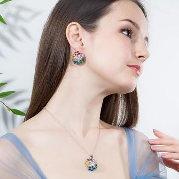 MultiColored Cubic Zirconia Crystal Pendant Necklace And Earrings Sets