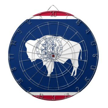 Dartboard with Flag of Wyoming, USA