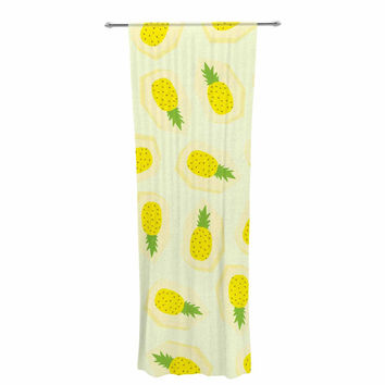 "Strawberringo ""Pineapple Pattern"" Yellow Fruit Decorative Sheer Curtain"
