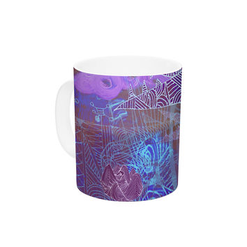 "Marianna Tankelevich ""Abstract With Wolf"" Purple Illustration Ceramic Coffee Mug"
