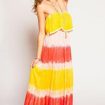 TIARE HAWAII Frill Lace Dress - Red/Yellow/Pink