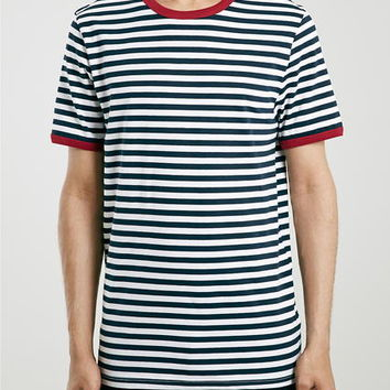 Blue Slim Fit Stripe T-Shirt - Men's T-shirts & Tanks - Clothing