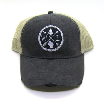 Wisconsin Trucker Hat - Black Distressed Snapback - Wisconsin Patched Arrow Compass