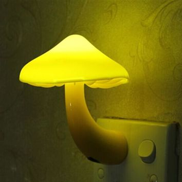 EU US Plug LED Night Light Mushroom Wall Socket Lights Lamp for Bedroom Home Decoration Hot Light-controlled Sensor