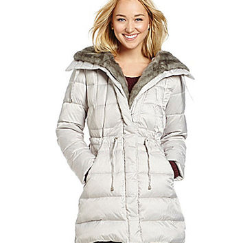 Laundry by Shelli Segal Faux-Fur-Trimmed Down Puffer Coat - Pebble