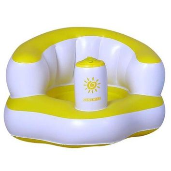 Inflatable Bath Stool Sofa Chair Children Baby   yellow