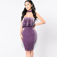 Sexy Halter Velvet Dress Women Autumn Elegant Bodycon Dress Ruffles Slash Neck Party Dress Sexy Off Shoulder Bandage ClubVestido