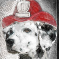 Firefighter Dalmation Animal Canvas Wall Art Print