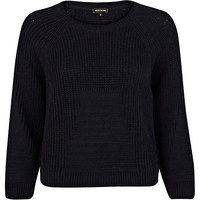 River Island Womens Navy rib geometric pattern cropped sweater