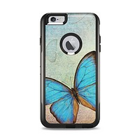 The Vivid Blue Butterfly On Textile Apple iPhone 6 Plus Otterbox Commuter Case Skin Set