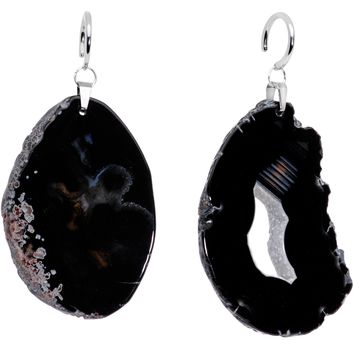 Handcrafted Steel Midnight Shadow Gap Natural Black Agate Ear Weights
