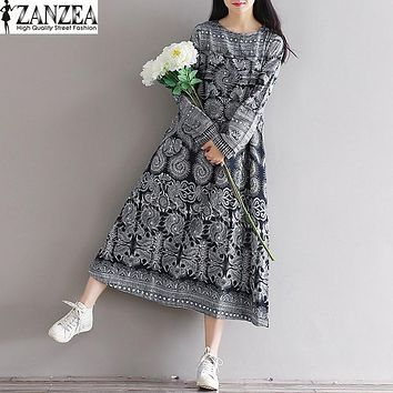 Plus Size ZANZEA Womens O Neck Long Sleeve Cotton Linen Dress Floral Print Elegant Ladies Kaftan Casual Loose Long Vestido Bohemian