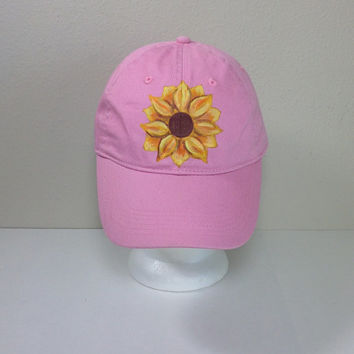 Pink Hat with Hand Painted Sunflower