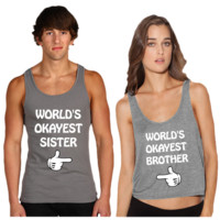 world's okayest sister tank top world's okayest brother couple tank top tshirt