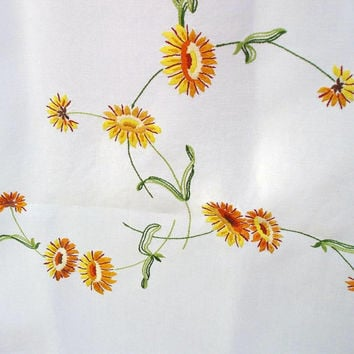 Vintage Tablecloth, Yellow Floral, Embroidered Table Cover, Mid Century Mod, Spring Decor - Yellow / Orange