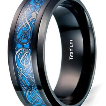 CERTIFIED 8mm Black Carbon Fiber Celtic Dragon Blue Luminous Effect Ring Band Glow