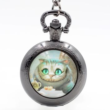 Alice in Wonderland Cheshire Cat Quartz Pocket Watch Pendant Necklace Mens Watch Womens Watch Boys Girls Gift