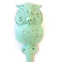 Mint Green Owl Wall Hook / Shabby Chic Hand Painted Cast Iron Hook  / Woodland Nursery Decor / Cottage Chic Decor  / Rustic Animal Wall Hook