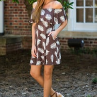 Floating Feathers Off The Shoulder Dress, Chocolate