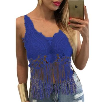 Chicloth Blue Lacy Crochet Cropped Vest Top