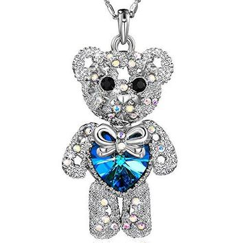 AUGUAU Teddy Bear Crystals Pendant Necklace Women's Jewelry Birthday Gifts for Daughter Girls Teen
