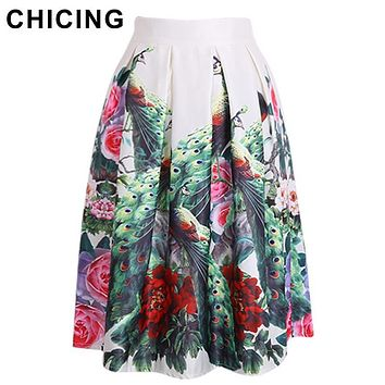 CHICING 2016 Summer Vintage Chinese Style Peacock Feathers Floral Print Pleated High Waist Midi Skater Stain Skirts Saias A14709