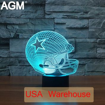 NFL Football Shape Table lamp Touch NightLight 7 Colors Changing Dallas Cowboy Lions Sleeping Lampara Light Acrylic USB 3D LED