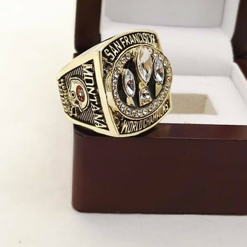 The  Quality  1988  San Francisco 49ers   championship rings with wooden boxes BC2836