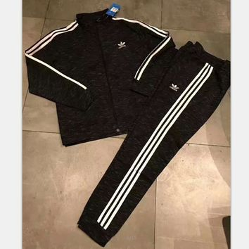 One-nice™ Adidas stripe long sleeve pants two piece zipper sports suit sportswear set