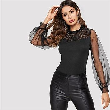 COLROVIE Black Solid Contrast Mesh Sheer Sleeve Elegant Blouse Women 2019 Spring Korean Long Sleeve Shirts Ladies Party Tops