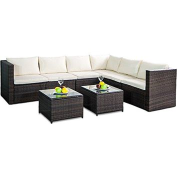 Leisure Zone Rattan Patio Furniture Set Wicker Sofa Cushioned Sectional Furniture Set Garden Patio Sofa Set (8 Pieces, Brown)