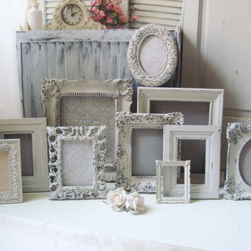 Antique White Vintage Style Ornate Picture Frames, Cottage Chic Off White Frames with Glass and Backing, Frame Gallery, Shabby Chic Frames