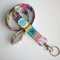 Lanyard  ID Badge Holder - boho stripes   - Lobster clasp and key ring coworker gift  office accesory