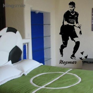 Neymar Footballer Soccer Star Wall Sticker Vinyl Art Decals Sport Poster Vintage Stickers for Kids Room Home Decor Drop Shipping