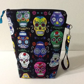 Sugar Skull Quilted Project Bag, Halloween Knitting Project Bag, Black Crochet Project Bag, Tall Zippered Pouch, Quiltsy Handmade