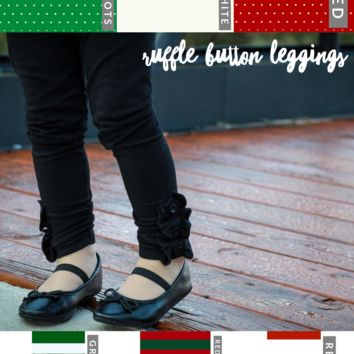 Christmas Ruffle Button Leggings - IN PRODUCTION