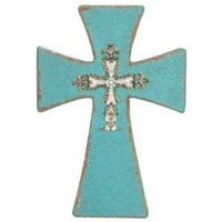 Wilco Imports Turquoise Distressed Wood Finish Wall Cross, 8-3/4-Inch by 1-Inch by 12-3/4-Inch