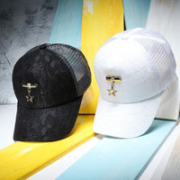 Women Summer Mesh Lace Baseball Caps With Metal Pendant Fashion Solid Color Snapback Hats Gorras Femininos