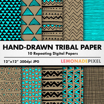 Tribal Digital Paper - Hand drawn digital paper, kraft paper, blue and brown paper, design backgrounds, digital textures, tribal patterns