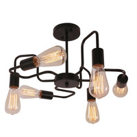 Black Antique Barn Metal Steel Art Semi Flush Mount Ceiling Light with 6 E26 Bulb Sockets 360W Painted Finish