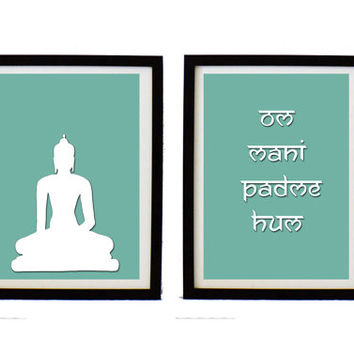 Om mani padme hum set print,Modern art print with inspirational buddhist mantra, buddha illustration, wall decor, Home decor