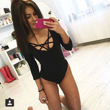 2016 Newest Sexy O-Neck Long Sleeve Bodycon Jumpsuit Romper Elastic Bandage Grid Bodysuit  Women's clothing & accessories H12