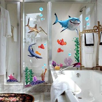 New Under Seabed Wall Sticker Shark Fish 3D NEMO Cartoon Waterproof Vinyl Wall Decals Removable Bathroom Nursery Kids Room