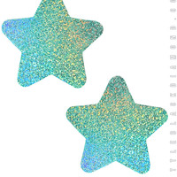 Star Pasties in Mint Hologram
