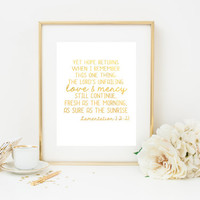 Gold Foil Print, Lamentations Print, Scripture Print, love and mercy verse, home decor print, gold art, bible verse print