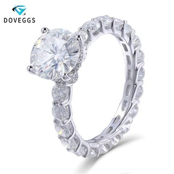 DovEggs 14K 585 White Gold 2 Carat ct 8mm F Color Moissanite Dia 9660c9aaf2a9