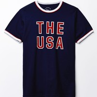 Port USA Ringer T-Shirt - Mens Tee - Blue
