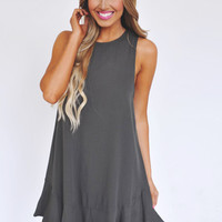 Olive Open Back Shift Dress